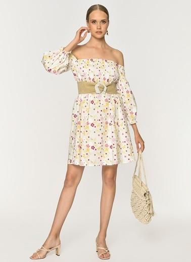 Loves You Gipeli Carmen Yaka Nakışlı Poplin Elbise Beyaz